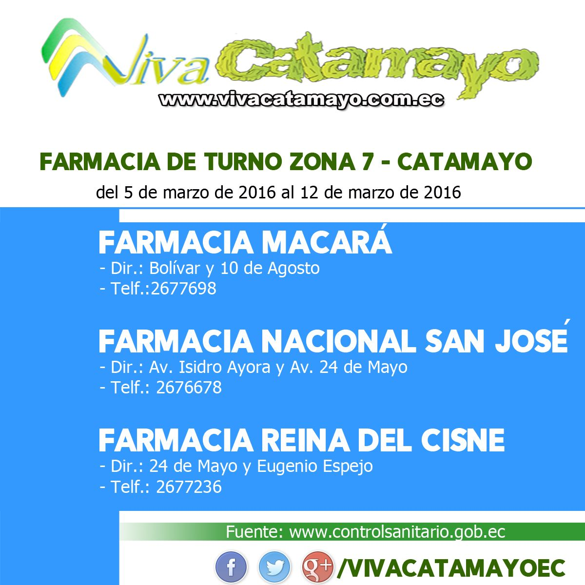 Farmacias de Turno 2016