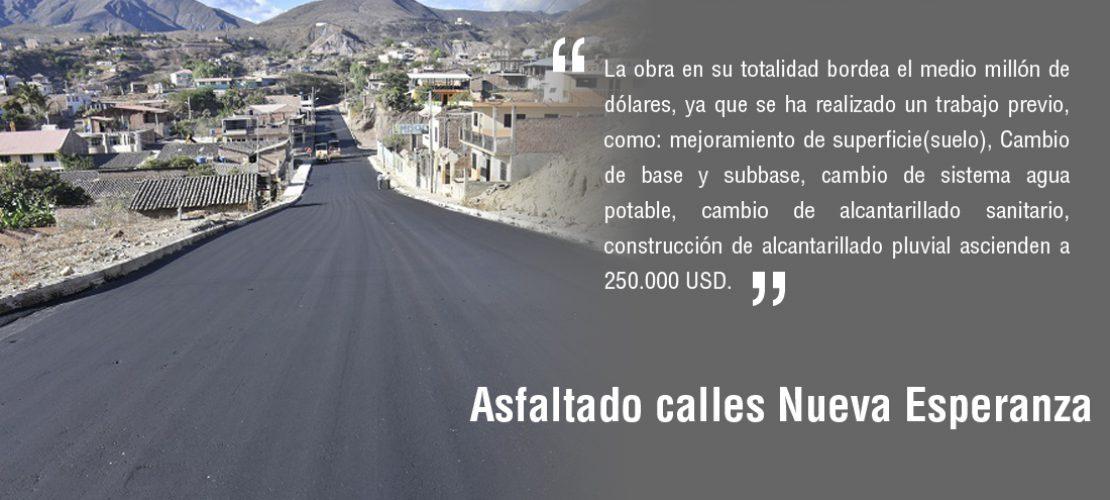 Asfaltado calles Sector Nueva Esperanza